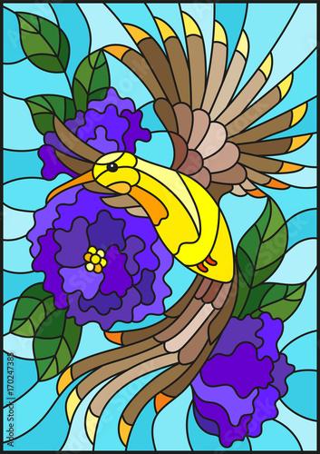 ilustracja-w-stylu-witrazu-z-pieknym-jasnym-ptakiem-i-oddzial-kwitnacej-rosliny