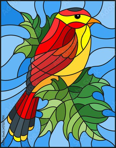 ilustracja-w-stylu-witrazu-z-pieknym-czerwonym-ptakiem-na-tle-galaz-klonowy