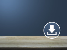 Download Icon On Wooden Table Over Light Gradient Blue Background, Business Internet Concept