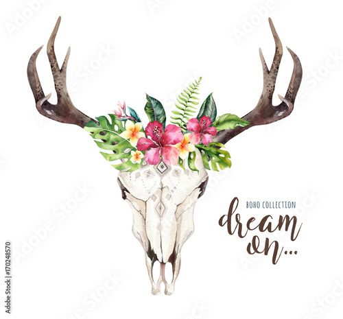 Printed kitchen splashbacks Watercolor Skull Watercolor bohemian cow skull and tropic palm leaves. Western deer mammals. Tropical deer boho decoration print antlers. flowers, leaves feathers. Isolated on white background. Aloha design.