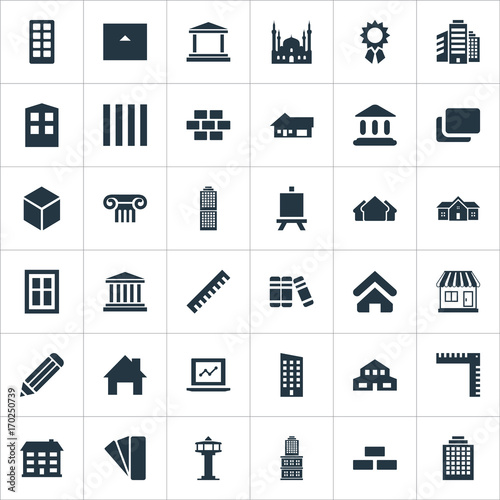 Vector Illustration Set Of Simple Structure Icons Canvas Print