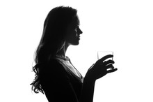 Silhouette Of Handsome Woman W...