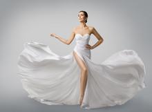 Woman White Dress, Fashion Model Bride In Long Silk Wedding Gown, Elegant Flying Fabric, Fluttering Cloth