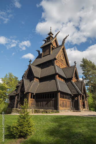 Photo  Gol stave church relocated and reconstructed in Oslo's Norwegian Folk Museum, or