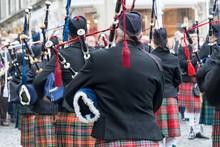 Scottish Musician Parade On The Roads Of Edinburgh, Scotland