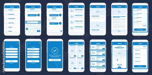 Mobile App Wireframe Ui Kit. Detailed wireframe for quick prototyping.