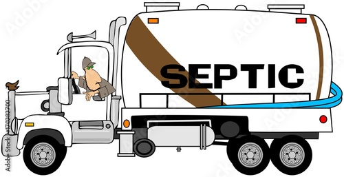 Valokuva  Illustration of a man backing up a septic tank pumper truck.