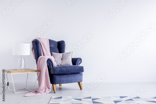 Photo Grey pillow on garnet armchair