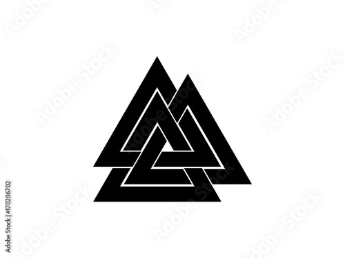Photo  Valknut is a symbol of the world's end of the tree Yggdrasil