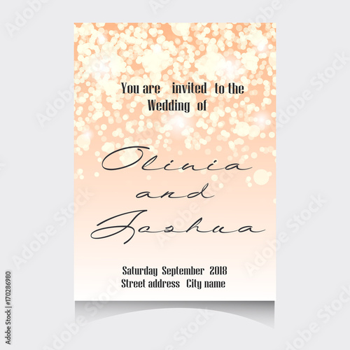 Fototapeta Wedding Invitation Cards Template Set With Soft Lights And