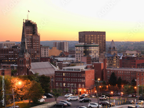 Photo Stands New York Syracuse at twilight