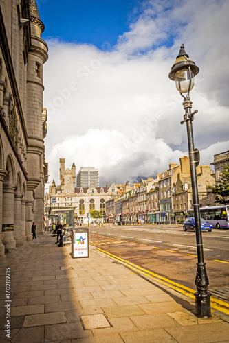 Union Street with beautiful old architecture in Aberdeen, Scotland, UK Wallpaper Mural
