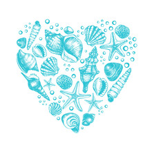 Heart Shape Composition With Different Types Mollusk Sea Shells, Starfish And Pebble. Marine Ink Hand Drawn Elements For Design. Template For Cards, Banners, Posters. Vector Illustration.