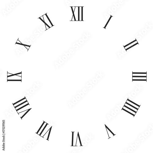 Fotografía Vintage roman numerals clock face vector isolated on white.
