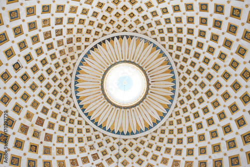 Leinwand Poster Interior detail of the dome of the Rotunda of Mosta, Malta