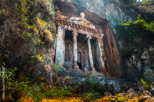 Photo Amyntas rock tombs - 4th BC tombs carved in steep cliff
