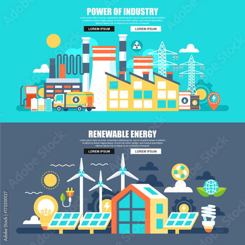 Poster Turquoise Business flat concept web banner of power of industry and renewable energy. Conceptual vector illustration for web design, marketing, graphic design.