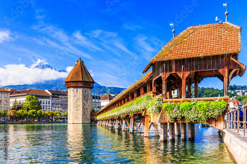 Lucerne, Switzerland. Chapel bridge. Canvas