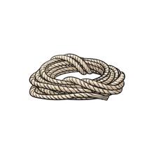 Roll Of Ship Rope, Side View Cartoon Vector Illustration Isolated On White Background. Cartoon Illustration Of Rolled Up Ship Rope For Anchoring, Docking