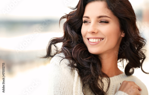 lovely beautiful woman in a woolen sweater. Beauty concept