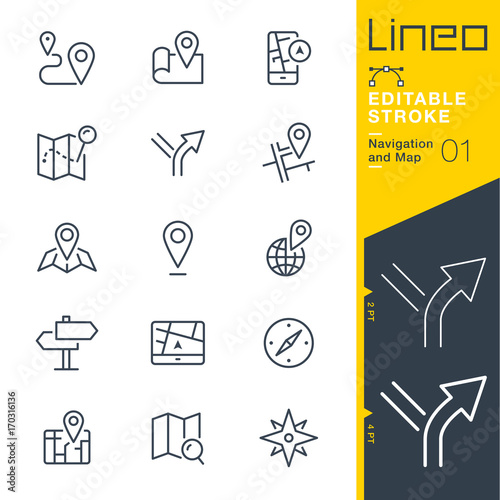 Fotografia  Lineo Editable Stroke - Navigation and Map line icons