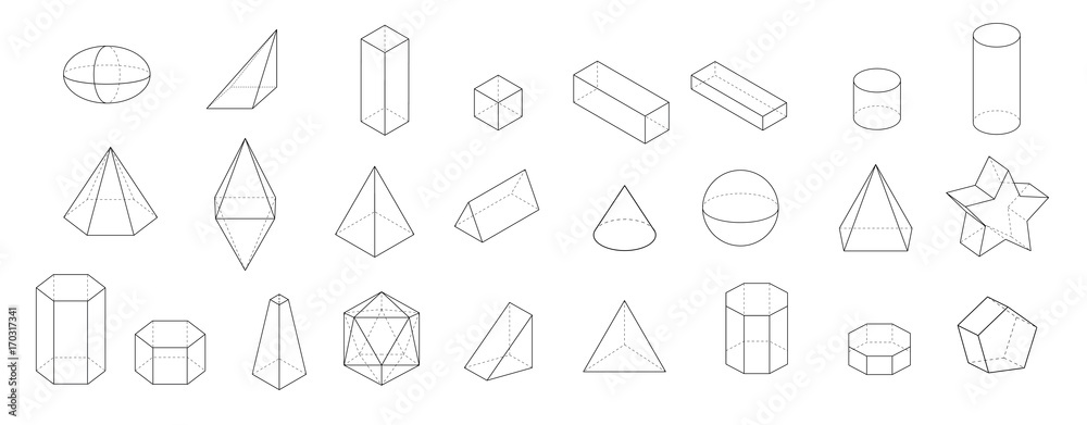 Fototapety, obrazy: set of Basic 3d geometric shapes. Geometric solids vector  illustration  isolated on a white background.