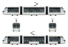 White City Tram Vector Mock-up. Isolated Railway Transport Set. Electric Passenger Train On White Background. All Layers And Groups Well Organized For Easy Editing And Recolor.