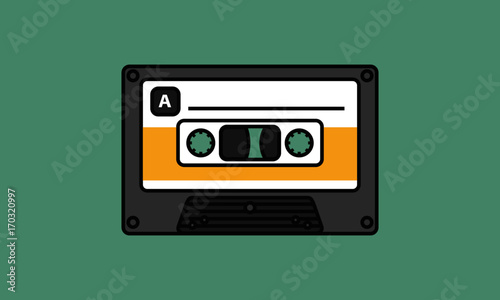 Fotografie, Tablou  Cassette Tape (Line Art Vector Illustration in Flat Style Design)
