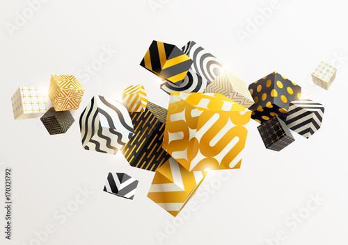Zdjęcie XXL Skład złote i czarne kostki 3D. Streszczenie ilustracji wektorowych.