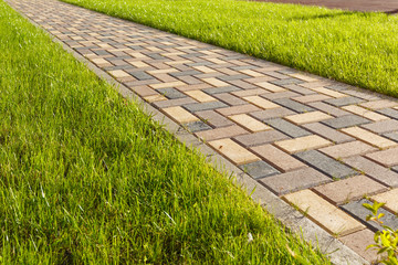 Colorful cobblestone road pavement