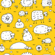 Flock Of Sheeps, Seamless Patt...