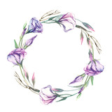 A wreath of watercolor eustoma flower isolate on white background. Flowers for wedding cards.