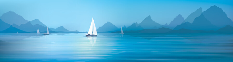 Fototapeta Panorama Vector blue sea, sky background and yachts.