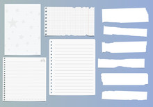 Set Of Notebook Paper Sheets -...