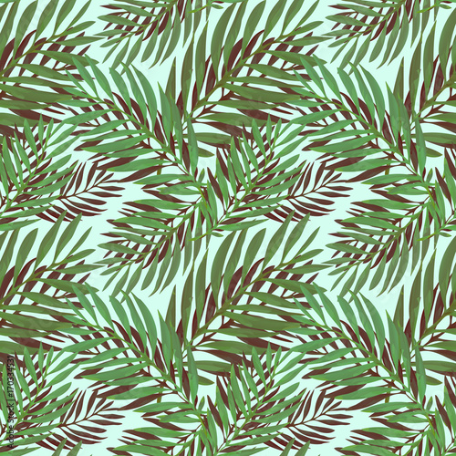 Spoed Fotobehang Tropische Bladeren Tropical palm leaves pattern. Trendy print design with abstract jungle foliage. Exotic seamless background. Vector illustration