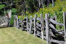 Rustic Wooden Fence Near Wildf...
