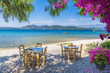 Taverna On Nikiana Beach, Lefkada Island, Greece.