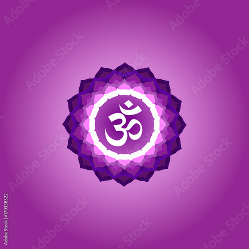 Chakra Purple Isolated Object Banner Poster Yoga Mantra Energy Concept Vector Ilration