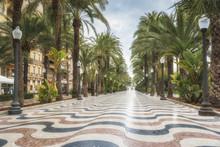 Promenade Explanada - The Main Tourist Street In Alicante, Spain