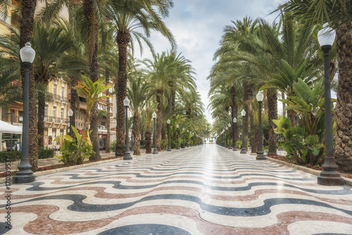 Photo Promenade Explanada - the main tourist street in Alicante, Spain