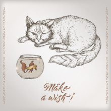 Romantic Vintage Birthday Card Template With Calligraphy, Cat And Goldfish Sketch.