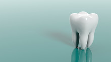 Tooth On Green Background. 3d ...