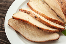 Delicious Sliced Turkey On Whi...