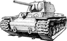 Sketch Of An Old Battle Tank