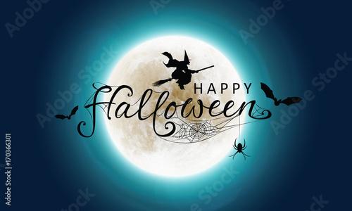 Fotografía Halloween - Grußkarte mit Vollmond Himmel, Kalligraphie mit Hexe, Fledermäuse un