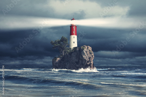 Keuken foto achterwand Vuurtoren Leuchtturm beim stürmischen Wetter