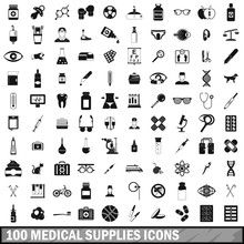 100 Medical Supplies Icons Set...