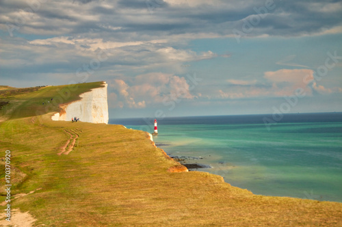 Fotografie, Obraz  View of the Seven sisters and Beachy Head Lighthouse