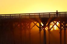 Sunset At San Simeon Pier, San Simeon State Park Near Hearst Castle, California, USA
