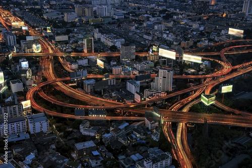 Bangkok junction by night Poster